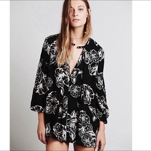Free People Floral Foil Swing Tunic Dress